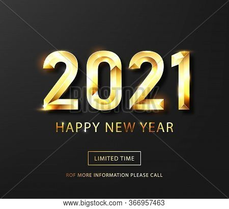 Happy New Year 2021 Banner.golden Vector Luxury Text 2021 Happy New Year. Gold Festive Numbers Desig