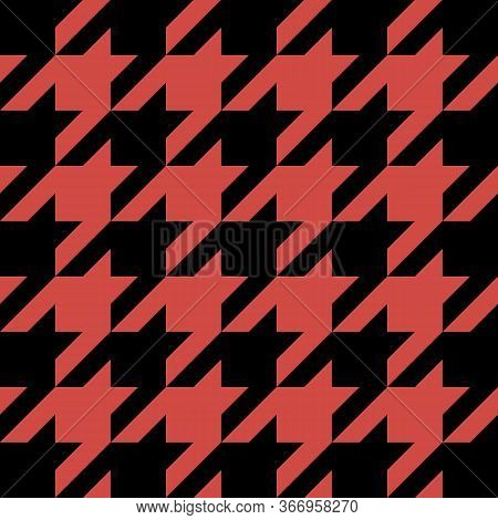 Goose Foot. Pattern Of Crows Feet In Black And Red Cage. Glen Plaid. Houndstooth Tartan Tweed. Dogs