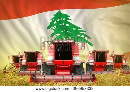 Some Red Farming Combine Harvesters On Farm Field With Lebanon Flag Background - Front View, Stop St