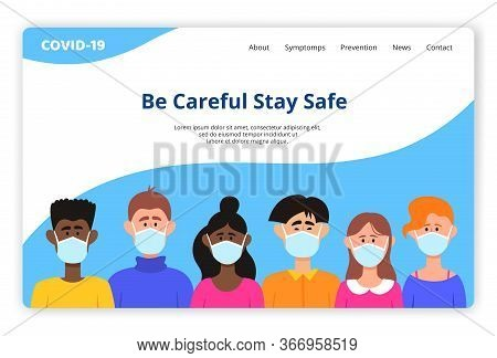 Vector Template Of Website With Different People In Protective Mask.