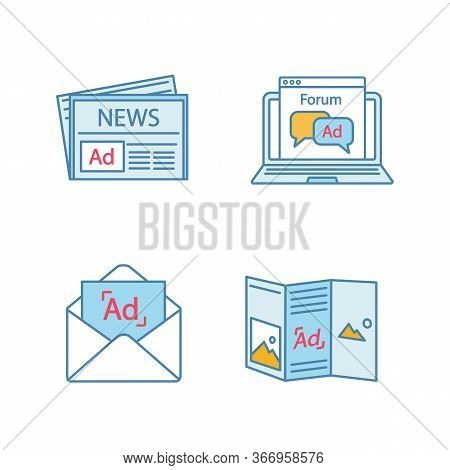 Advertising Channels Color Icons Set. Newspaper Ads, Forum, Email Marketing, Forum. Isolated Vector