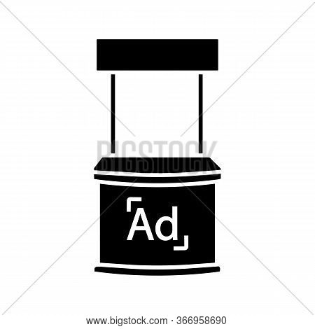 Promotional Stand Glyph Icon. Promo Exhibition Stand. Market Stall. Promotion Tasting Counter. Adver