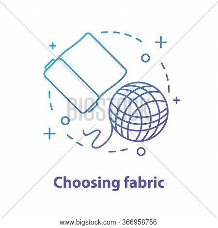 Choosing Fabric Concept Icon. Dressmaking Idea Thin Line Illustration. Tailoring. Fabric And Knittin