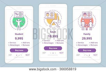 Subscription Prices Onboarding Mobile App Screens Vector Templates. Student, Family, Adult Tariff Pl