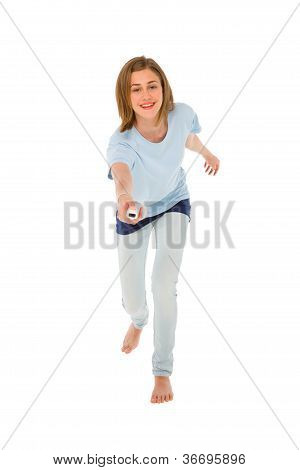 teenage girl using wii on white background poster