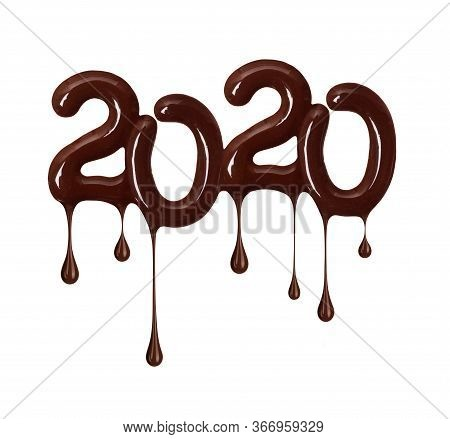 Date Of The New Year 2020 Made Of Melted Chocolate, Isolated On White Background. 3d Illustration