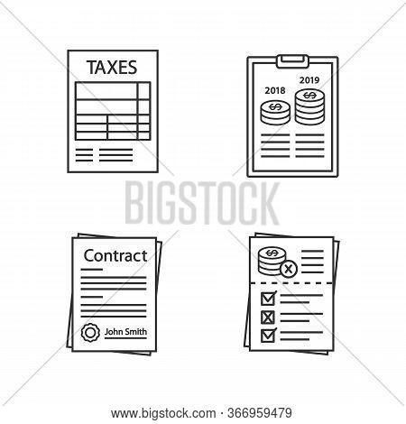 Audit Linear Icons Set. Taxes Form, Annual Report, Contract, Audit Risks. Thin Line Contour Symbols.