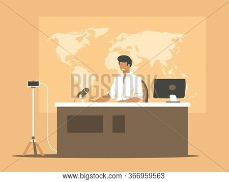 Online Broadcasting Presenter. Anchorman On Home Studio Background. Broadcast News Using A Smartphon