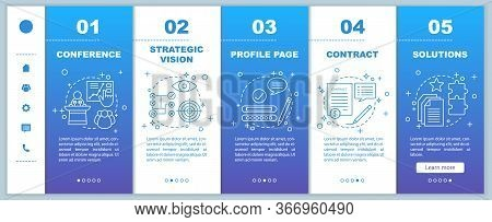 Solutions Searching Onboarding Mobile Web Pages Vector Template. Conference, Strategic Vision, Profi