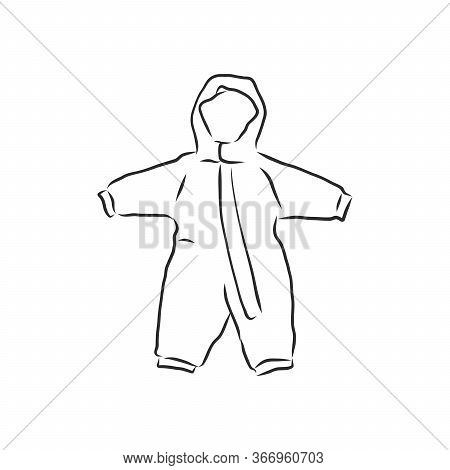 Childrens Jumpsuit With The Hood. Sketch. Childrens Winter Jumpsuit Vector Sketch Illustration