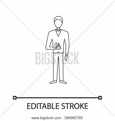 Marriage Proposal Linear Icon. Thin Line Illustration. Man Holding Box With Ring. Fiance, Bridegroom