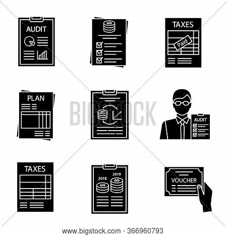 Audit Glyph Icons Set. Auditor S Report, Budget, Tax Return, Planning, Performance Audit, Auditor, A
