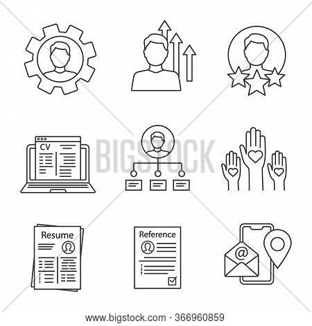 Resume Linear Icons Set. Skills, Achievements, Experience, Online Cv, Ability, Volunteering, Referen