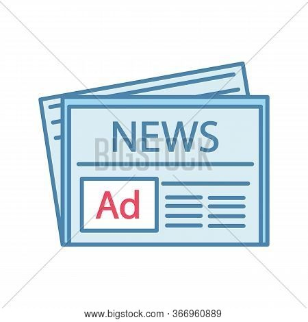 Newspaper Advertising Color Icon. Print Marketing. Newspaper Article. Periodical Publication. Print