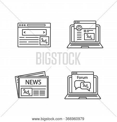 Advertising Channels Linear Icons Set. Internet Marketing, Social Media Ads, Newspaper, Forum. Thin