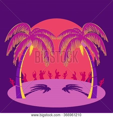 Silhouette Party People And Palm Trees On Beach Under Sunset Sky Background. Vector Illustration
