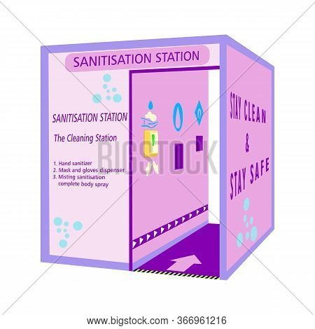 Sanitisation Station, Tunnel For Disinfection And Protect People From Covid-19 Coronavirus. Full Bod
