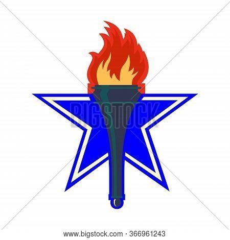 Burning Torch Icon, Logo On A Background Of A Large Blue Star.