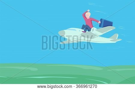 Young Man With Suitcase Sit On Top Of Plane. Business Travel And Transportation Concept.