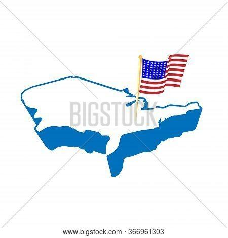 Creative Abstract Usa Map And Flag, Vector Illustration