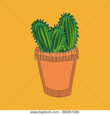Isometric Isolated Green Oval Cactus Plant In Brown Pot