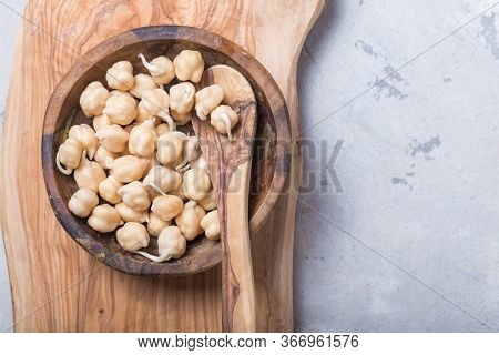 Sprouted Beans. Chickpeas With Sprouts. Vegetarianism. Healthy Diet. Sprouted Beans.