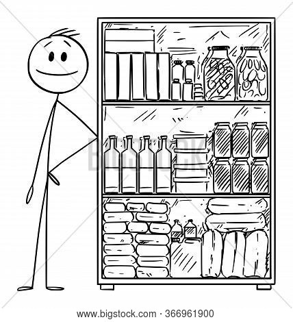 Vector Cartoon Stick Figure Drawing Conceptual Illustration Of Man With Stockpile Of Food For Crisis