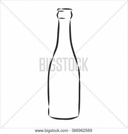 Vector Of Sketch Bottles. Vector Of Sketch Bottles. Glass Bottle, Vector Sketch Illustration