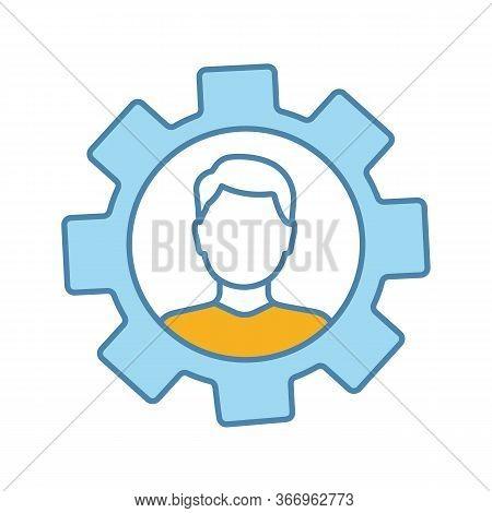 Professional Skills Color Icon. Employability Skills. Personal Development. Self Improvement. Cogwhe