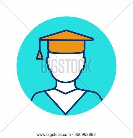 Education Color Icon. Graduation. Academic Degree. Person In Academic Cap. Isolated Vector Illustrat