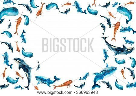 Watercolor Set Horizontal Frame With Whales Isolated On White. Sketched Colorful Groups, Garland Wit