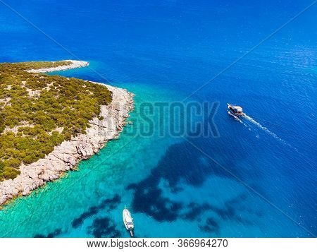 Drone View To The Aegean Sea With Boats And Its Shore In Famous Tourist City Bodrum In Turkey