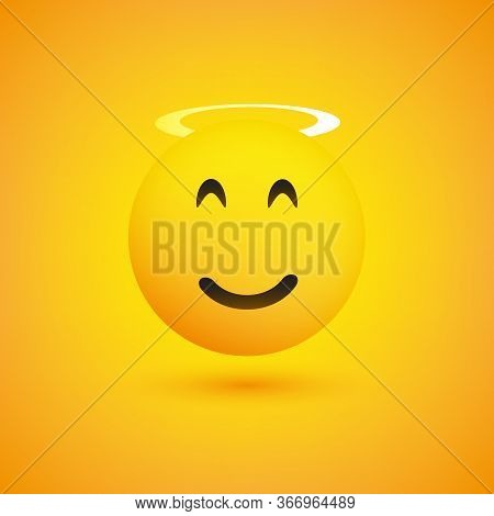 Smiling Cheeky Face With Angel Halo - Emoticon Concept Design