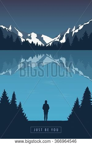 Adventure Girl In The Mountains By The Lake In The Wilderness Landscape Vector Illustration Eps10
