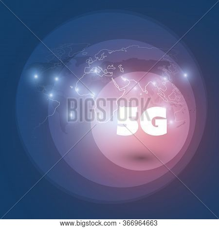 5g Network Label With Glowing Nodes - High Speed, Broadband Mobile Telecommunication And Wireless Se