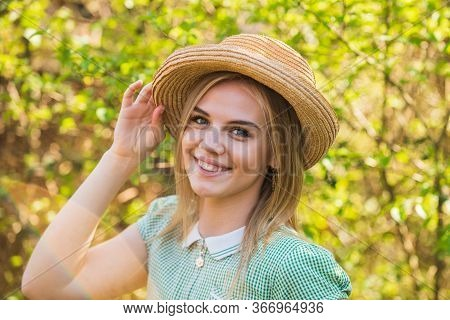Be Natural Be You. Happy Woman On Natural Landscape. Pretty Woman In Rural Style. Sensual Woman With