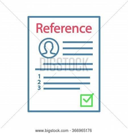 Reference Letter Color Icon. Recommendation Letter. Employment Reference. Job Application. Isolated