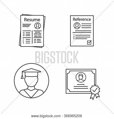 Resume Linear Icons Set. Cv, Reference Letter, Education, Certificate. Thin Line Contour Symbols. Is