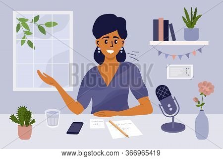 Stay At Home, Recording Podcast Show. Female Radio Host Speaking Into Microphone. Podcaster Making C