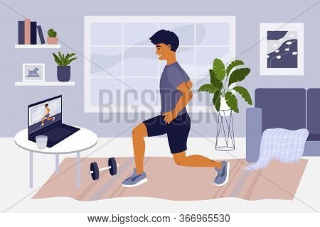 Stay Home, Keep Fit And Positive. Man Doing Exercise On Laptop. Online Training, Gym At Home, Sport,