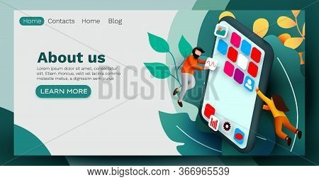 Landing Page. Modern Banner Template With Tiny People And Giant Smartphone. Mobile App Design. User