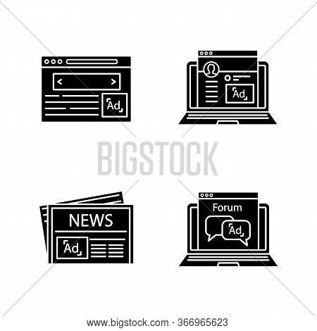 Advertising Channels Glyph Icons Set. Internet Marketing, Social Media Ads, Newspaper, Forum. Silhou