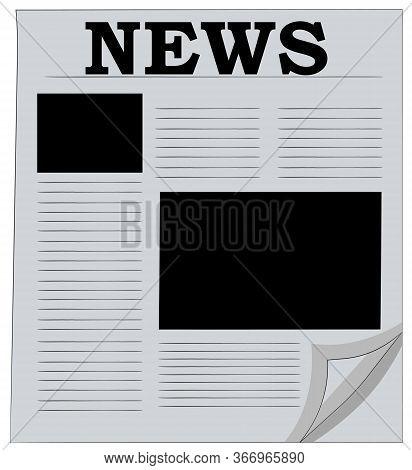 Newspaper Vector. Flipping A Newspaper Sheet. Blank Newspaper With News
