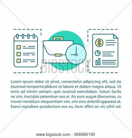 Financial Report Concept Linear Illustration. Time Management. Business Planning. Article, Brochure,