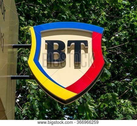 Bucharest/Romania - 05.16.2020:  A sign with the logo of Transylvania Bank (Banca Transilvania)in Bucharest.