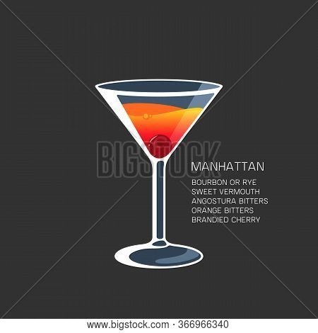 Manhattan Cocktail Alcohol Drink Martini Glass Vector Illustration