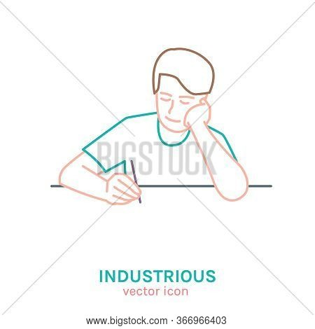 Industrious Teenager Icon. I Like Learning. Feel Interested. Motivated Student. Hard-working Boy. Ed