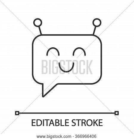 Chatbot Message Linear Icon. Thin Line Illustration. Speech Bubble With Chat Bot. Artificial Convers