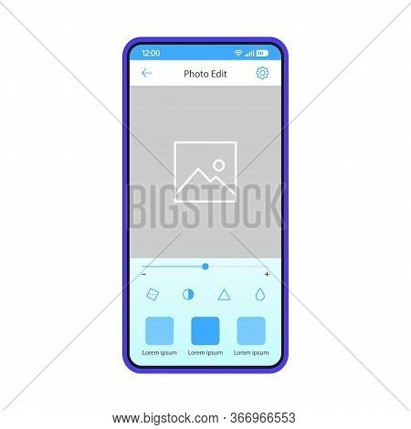 Photo Editing Smartphone App Vector Template. Mobile Application Interface Blue Design Layout. Photo