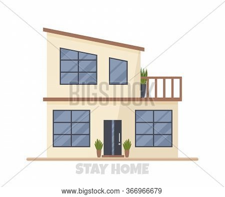 Vector Illustration Of Modern Big Cottage House Isolated. Concept Idea Of Real Estate In Cartoon Fla